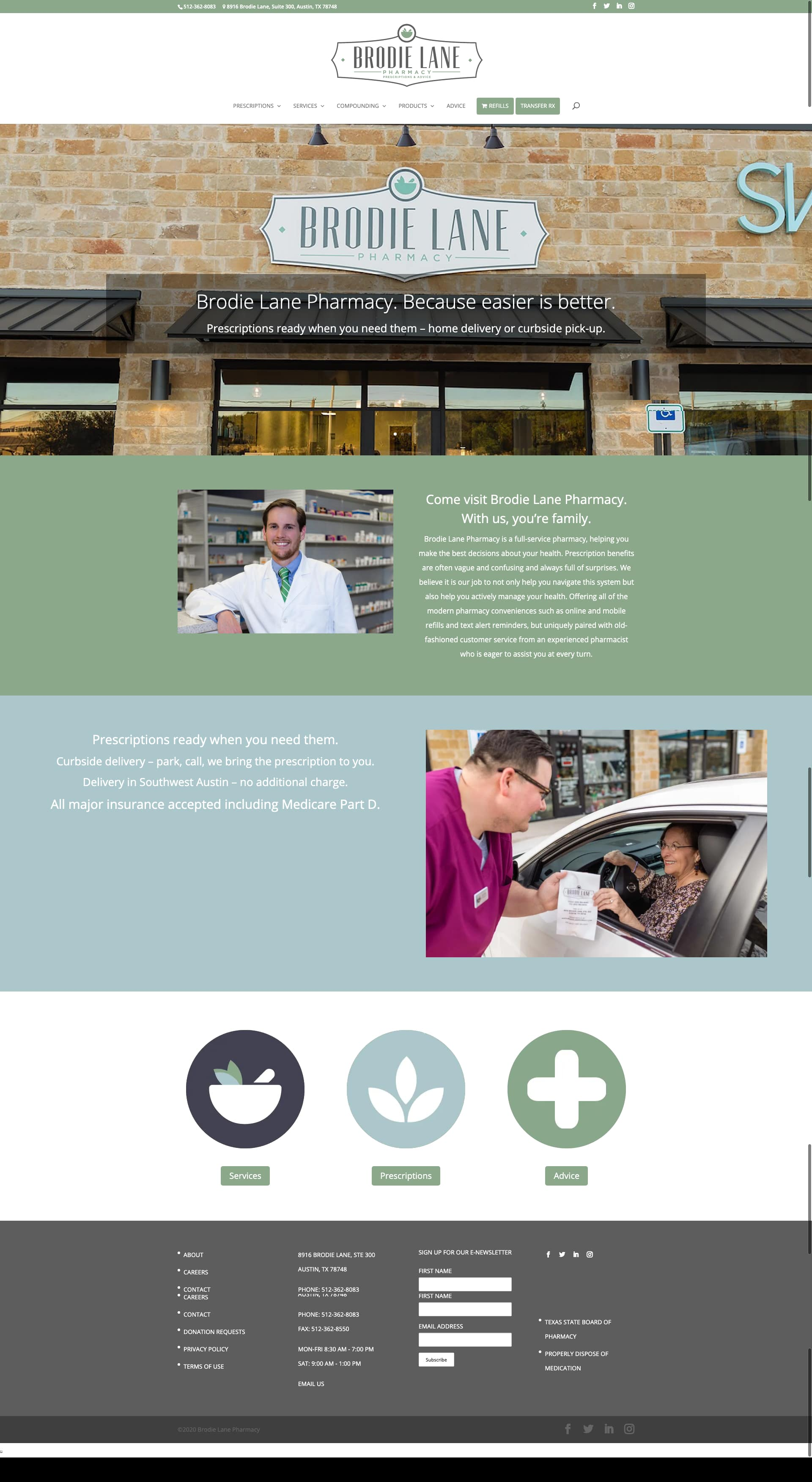 Brodie Lane Pharmacy Austin WordPress Development